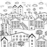 Teste padrão sem emenda da paisagem urbana do inverno esboço fundo desenhado à mão preto e branco para o papel de parede, suficiê ilustração stock