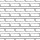 Teste padrão sem emenda da parede de tijolo estilizado, preto e branco Fotos de Stock Royalty Free