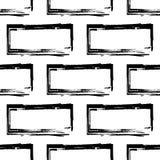 Teste padrão sem emenda da parede de tijolo estilizado, preto e branco Foto de Stock Royalty Free
