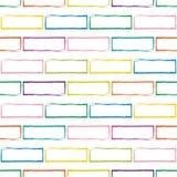 Teste padrão sem emenda da parede de tijolo multicolorido estilizado Fotos de Stock