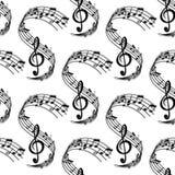 Teste padrão sem emenda da pauta musical ondulada da música Foto de Stock