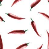 Teste padrão sem emenda da pimenta da aquarela ilustração stock