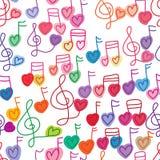 Teste padrão sem emenda da pintura livre da nota da música do amor ilustração royalty free