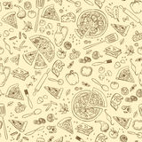 Teste padrão sem emenda da pizza Teste padrão da pizza do vetor Fotografia de Stock
