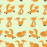 Teste padrão sem emenda da raposa bonito Fundo infinito Foxy, textura Contexto do ` s das crianças Ilustração do vetor Fotos de Stock