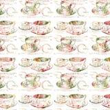 Teste padrão sem emenda da repetição antiga da xícara de chá ilustração royalty free