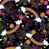 Teste padrão sem emenda da repetição do arco-íris dos crânios de Girly Fotografia de Stock Royalty Free
