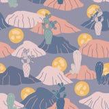 Teste padrão sem emenda da repetição do vetor do cacto azul do por do sol do deserto ilustração royalty free
