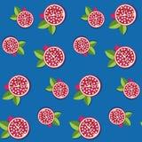 Teste padrão sem emenda da romã para o fundo do fruto Imagens de Stock