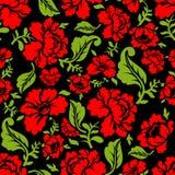 Teste padrão sem emenda da rosa do vermelho Textura floral Ornamento dos povos do russo Foto de Stock Royalty Free
