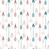 Teste padrão sem emenda da seta do vintage Entregue a textura tirada das setas para a matéria têxtil, cópia, Web, envolvendo Veto Imagens de Stock