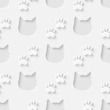 Teste padrão sem emenda da silhueta da cabeça e da pata do gato ilustração stock