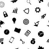 Teste padrão sem emenda da silhueta dos ícones do negócio Imagens de Stock Royalty Free