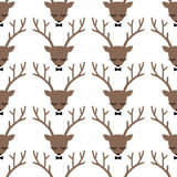 Teste padrão sem emenda da silhueta principal dos cervos Imagens de Stock Royalty Free