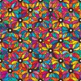 Teste padrão sem emenda da simetria colorida da flor do olho ilustração do vetor