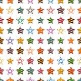 Teste padrão sem emenda da simetria colorida da listra da fita da estrela ilustração do vetor
