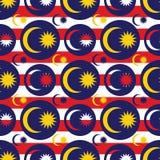Teste padrão sem emenda da simetria do ícone da bandeira de Malásia ilustração stock