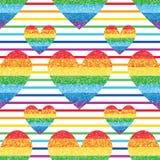 Teste padrão sem emenda da simetria da listra do amor do brilho do arco-íris Imagens de Stock Royalty Free