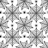 Teste padrão sem emenda da teia de aranha Textura repetitiva da aranha Fundo infinito de Dia das Bruxas Ilustração do vetor Fotos de Stock Royalty Free