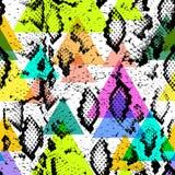 Teste padrão sem emenda da textura da pele de serpente cópia bege azul roxa cor-de-rosa lilás alaranjada magenta preta, contexto  Imagens de Stock Royalty Free