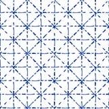 Teste padrão sem emenda da tintura tradicional azul e branca do laço da tela do shibori, vetor ilustração do vetor