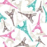 Teste padrão sem emenda da torre Eiffel Fundo francês do vetor Textura da tela do vintage nas cores pastel ilustração do vetor