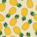 Teste padrão sem emenda da tração da mão do abacaxi Ilustração do vetor ilustração royalty free