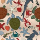 Teste padrão sem emenda da vida marinha Imagens de Stock Royalty Free