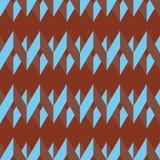 Teste padrão sem emenda da viga Luz colorida - ziguezague azul no fundo do vermelho de tijolo Imagens de Stock