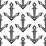 Teste padrão sem emenda das âncoras náuticas estilizados Fotografia de Stock Royalty Free