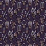 Teste padrão sem emenda das ampolas com linha lisa ícones Tipos das lâmpadas, fluorescente conduzidos, filamento, halogênio, diod Foto de Stock