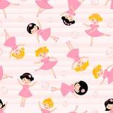 Teste padrão sem emenda das bailarinas bonitos Imagens de Stock Royalty Free