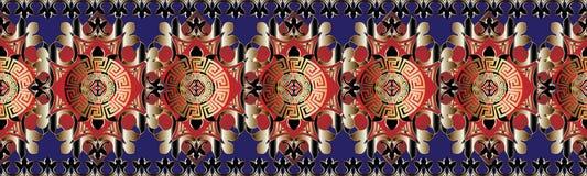 Teste padrão sem emenda das beiras do vetor grego abstrato decorativo Imagens de Stock