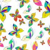 Teste padrão sem emenda das borboletas do vetor, fundo branco Fotos de Stock Royalty Free