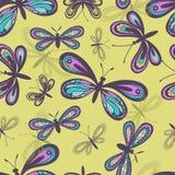 Teste padrão sem emenda das borboletas estilizados Fotografia de Stock