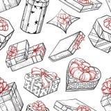 Teste padrão sem emenda das caixas de presente ilustração stock