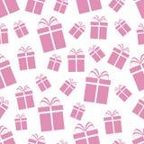 Teste padrão sem emenda das caixas de presente cor-de-rosa Fundo do vetor do dia do ` s de Rose Valentin Textura bonito do molde  ilustração stock