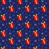 Teste padrão sem emenda das caixas de presente e dos flocos de neve Foto de Stock