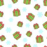 Teste padrão sem emenda das caixas de presente e dos flocos de neve Imagens de Stock Royalty Free
