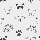 Teste padrão sem emenda das caras animais bonitos para a camisa de t, cadernos, cartão, tela, projeto da forma Tabuleta na moda d ilustração royalty free