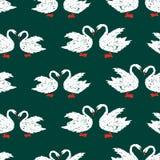 Teste padrão sem emenda das cisnes brancas imagem de stock