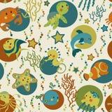 Teste padrão sem emenda das criaturas do mar Fotografia de Stock Royalty Free