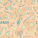 Teste padrão sem emenda das curvas das cookies dos doces Imagens de Stock