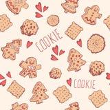 Teste padrão sem emenda das curvas das cookies dos doces Fotos de Stock