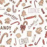 Teste padrão sem emenda das curvas das cookies dos doces Fotografia de Stock