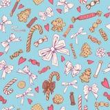Teste padrão sem emenda das curvas das cookies dos doces Fotografia de Stock Royalty Free