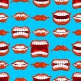 Teste padrão sem emenda das emoções da boca Ornamento vermelho dos bordos ilustração royalty free