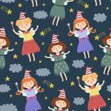 Teste padrão sem emenda das fadas bonitos Fundo mágico do vetor no estilo criançola ilustração royalty free