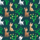 Teste padrão sem emenda das famílias bonitos dos lamas ilustração stock