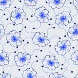 Teste padrão sem emenda das flores azuis Imagens de Stock Royalty Free